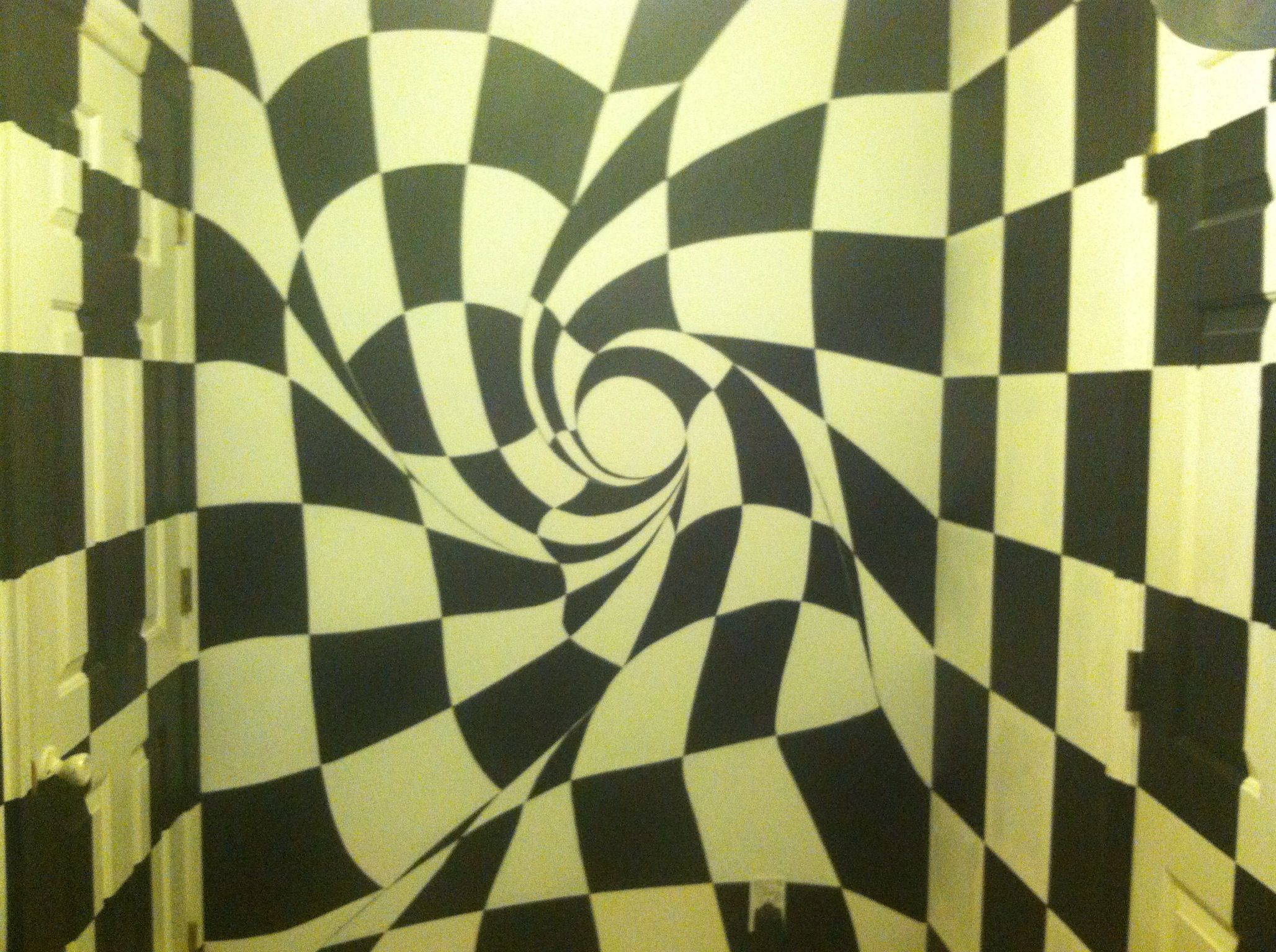 360 Degree Black And White Checkered Laundry Room With A Twist Alice In Wonderland Feel Red Washer Wall Painting Alice In Wonderland Red Washer And Dryer