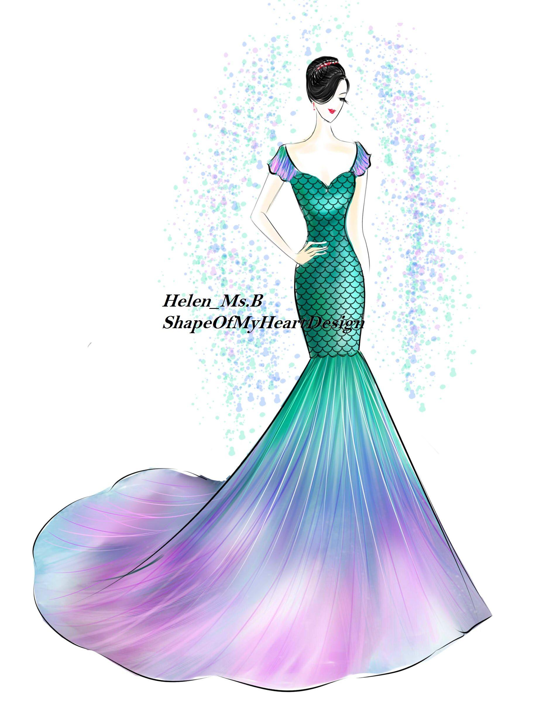Mermaid Dress with colorful mermaid tail~   ShapeOfMyHeart (Wedding ...