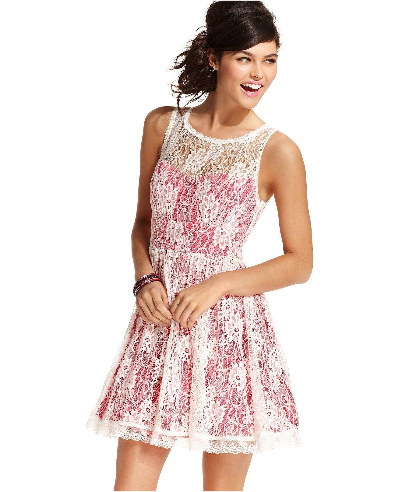 B Darlin Juniors Dress, Sleeveless Lace A-Line - Juniors Dresses ...