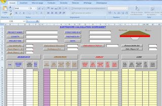sample of excel earthwork calculations worksheet to download for free