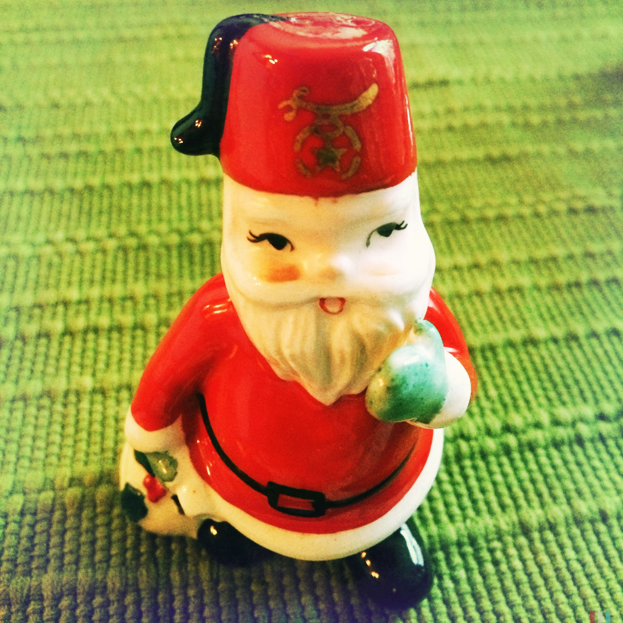 Vintage Santa with Shriners Fez Hat