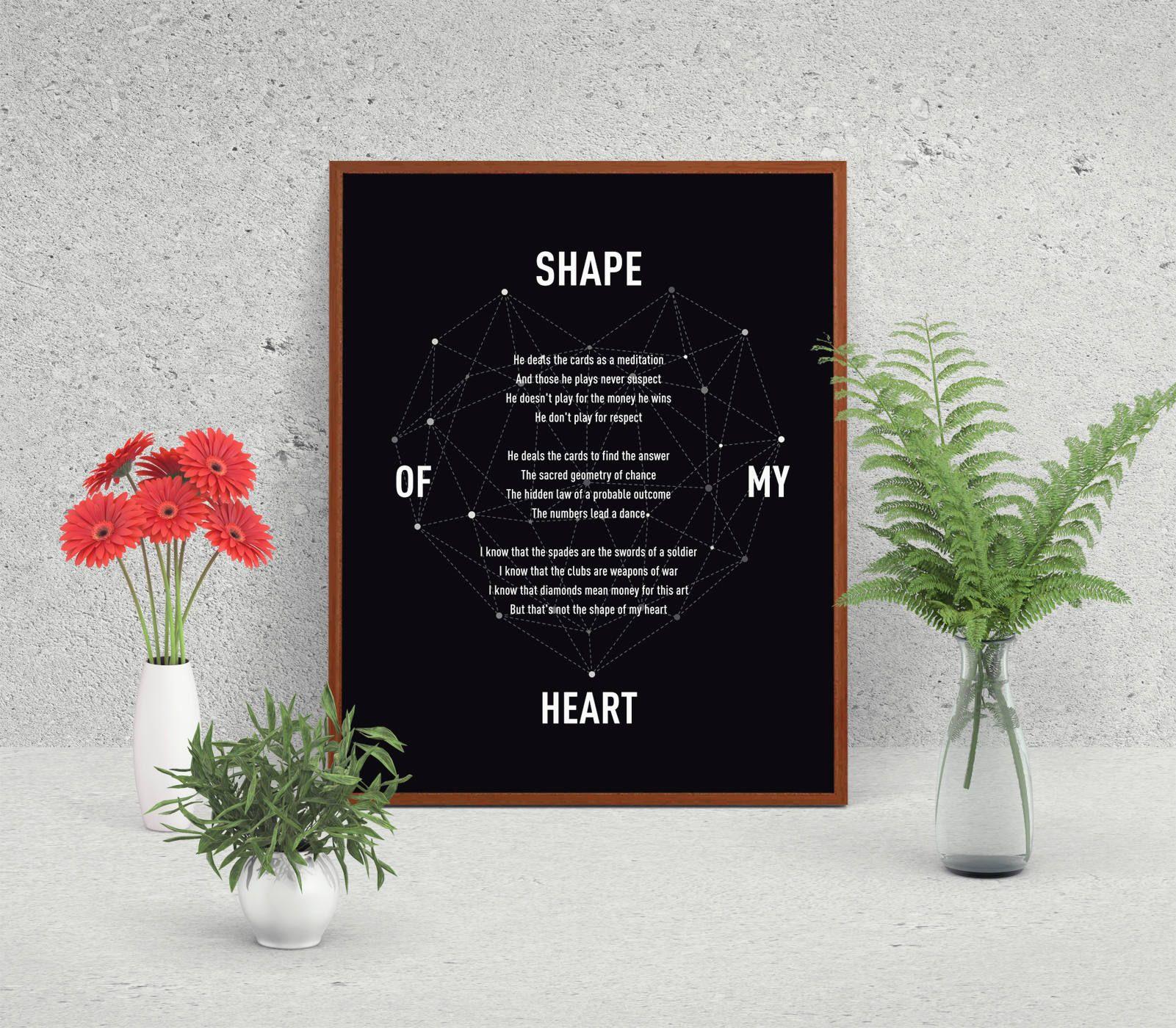 Shape Of My Heart Sting Song Lyric Print Minimalist Poster Song Lyric Art Geometric Heart Gift For Her Pr Lyric Prints Song Lyrics Art Song Lyric Print
