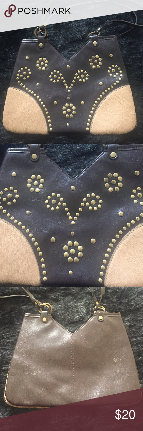 Gorgeous leather handbag w/ gold studded detail Gorgeous leather handbag w/ gold studded detail Express Bags Mini Bags