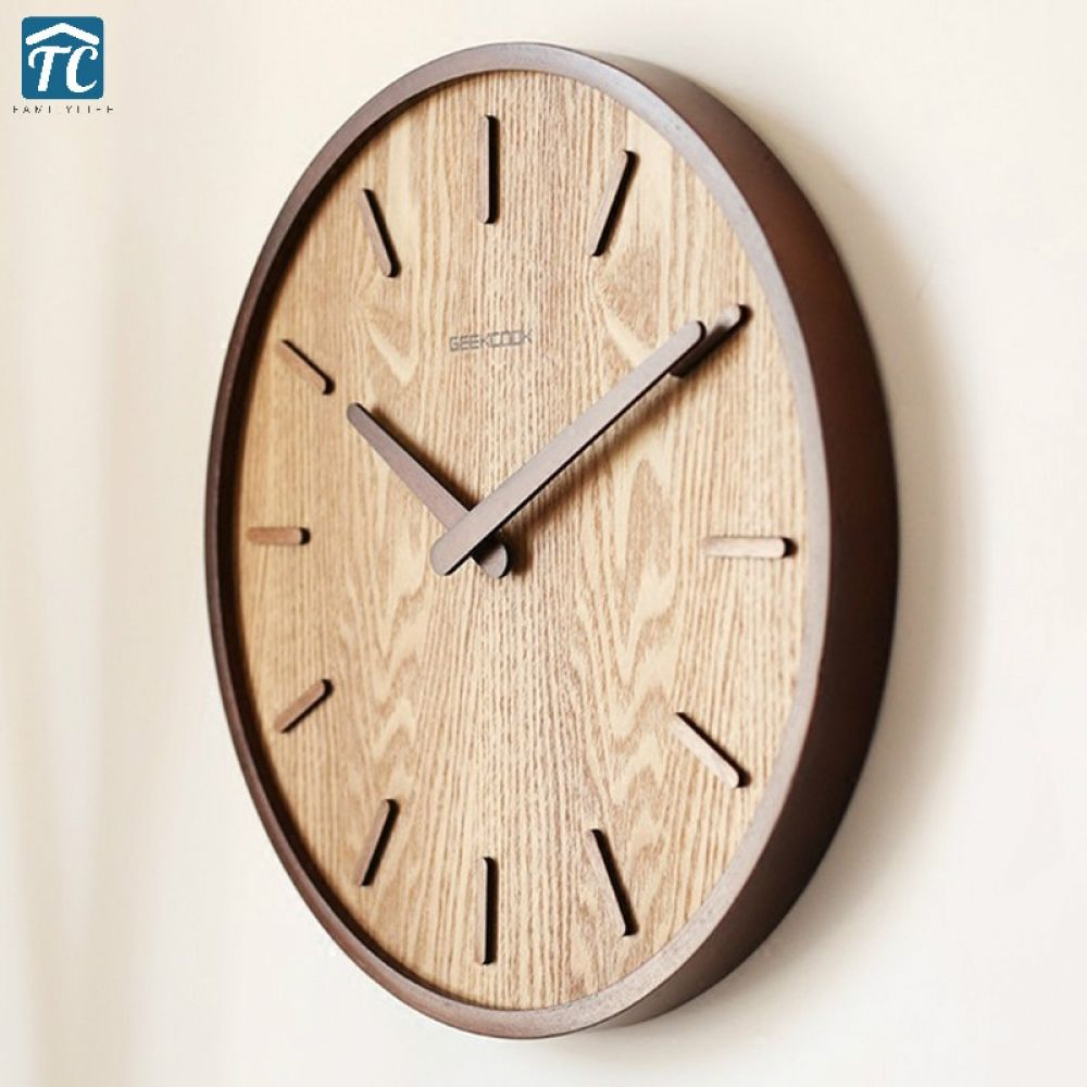 Wooden Quartz Wall Clock Modern Decoration Hanging Watch Living Room Bedroom Japanese Home Quiet Circular 14inches Vintage Wall Clock Design Wall Clock Modern Wooden Clock