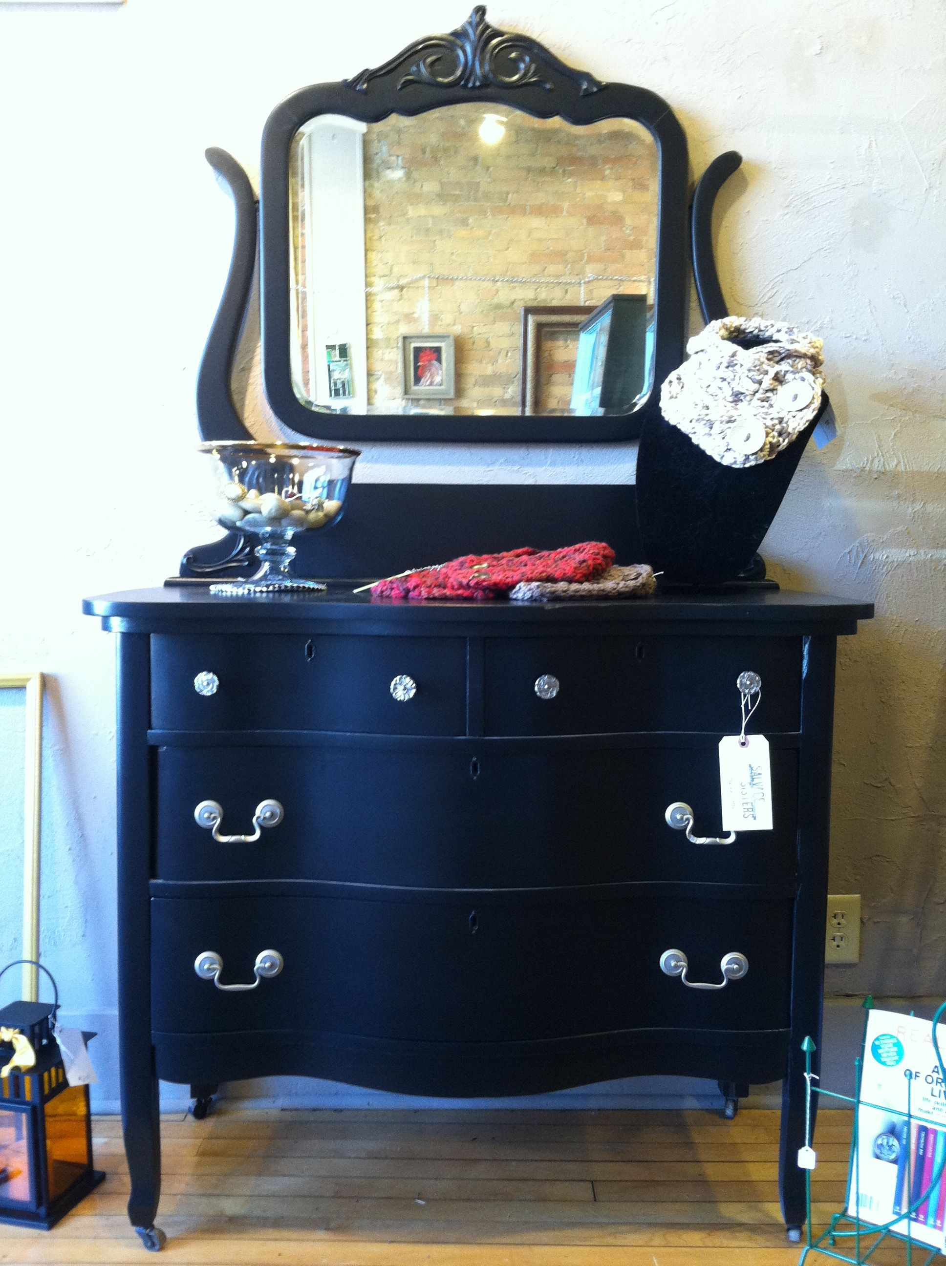 Black Painted Dresser And Mirror Salvage Sisters In The