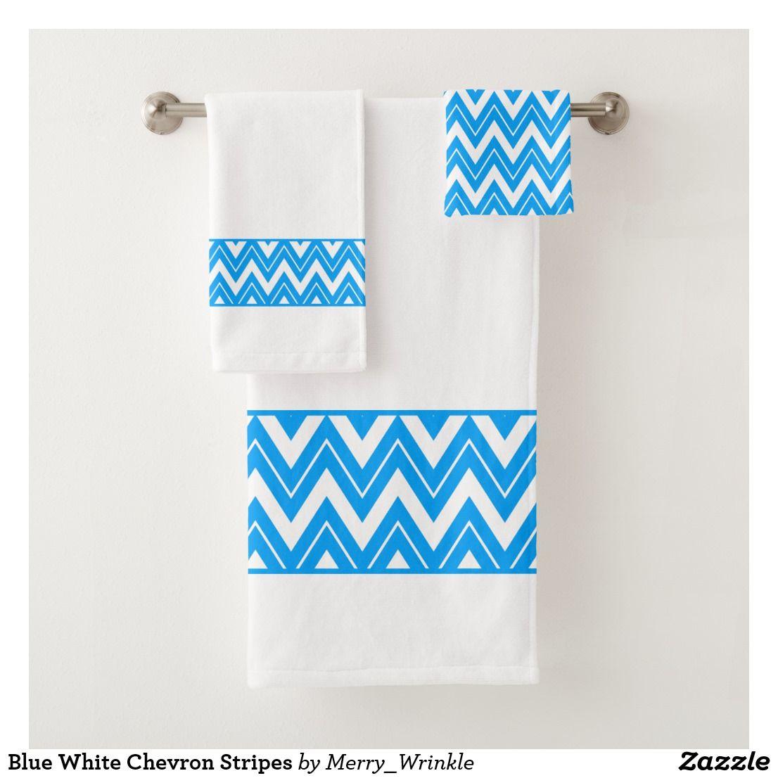 Blue White Chevron Stripes Bath Towel Set Zazzle Com Towel Set
