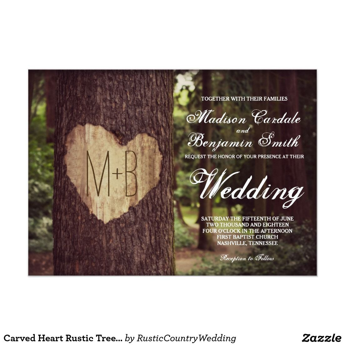 Carved Heart Rustic Country Tree Wedding Invitations with the bride and groom's initials carved into the tree.  #wedding