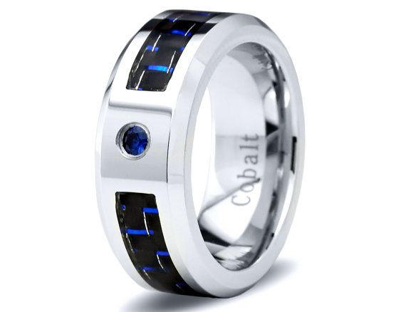 Mens Cobalt Wedding Band Ring 8mm Blue Sapphire Carbon Fiber Inlay