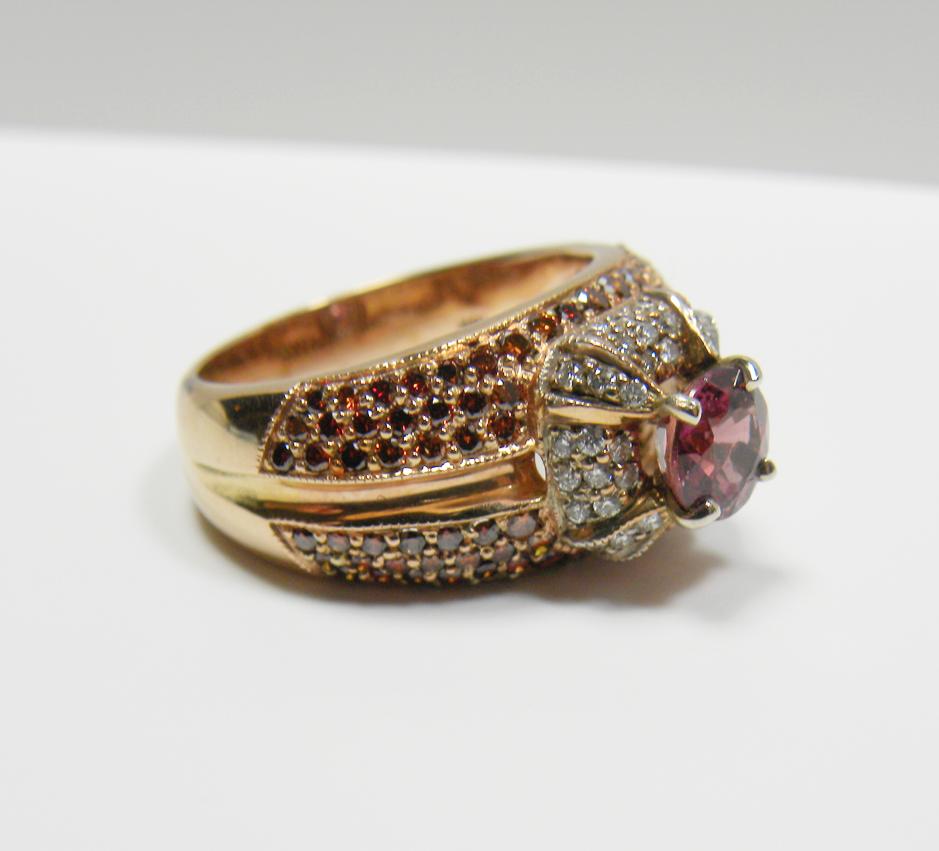 Ct padparadscha sapphire u diamond ring k rose gold joyeria