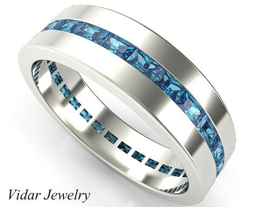 Men Wedding Band Unique Wedding Bandmen Eternity Wedding Etsy In 2020 Blue Diamond Wedding Band Diamond Wedding Bands Blue Diamond Ring