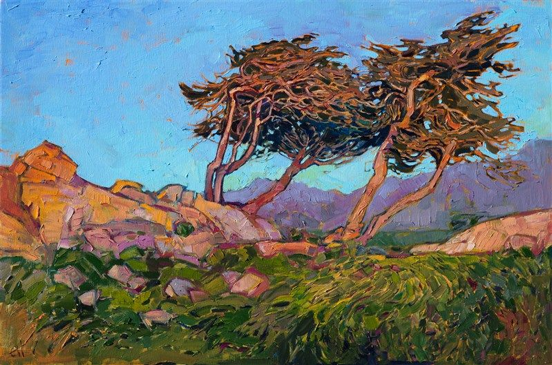 $5,600. Impressionistic painting of Pebble Beach golf course in Monterey.