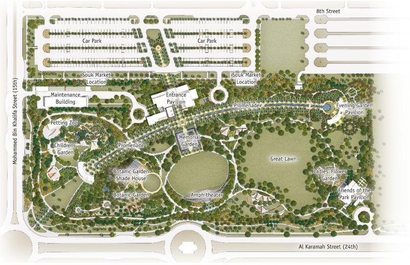 Redevelopment Commences At Mushrif Central Park Park Landscape Parking Design Landscape Plans