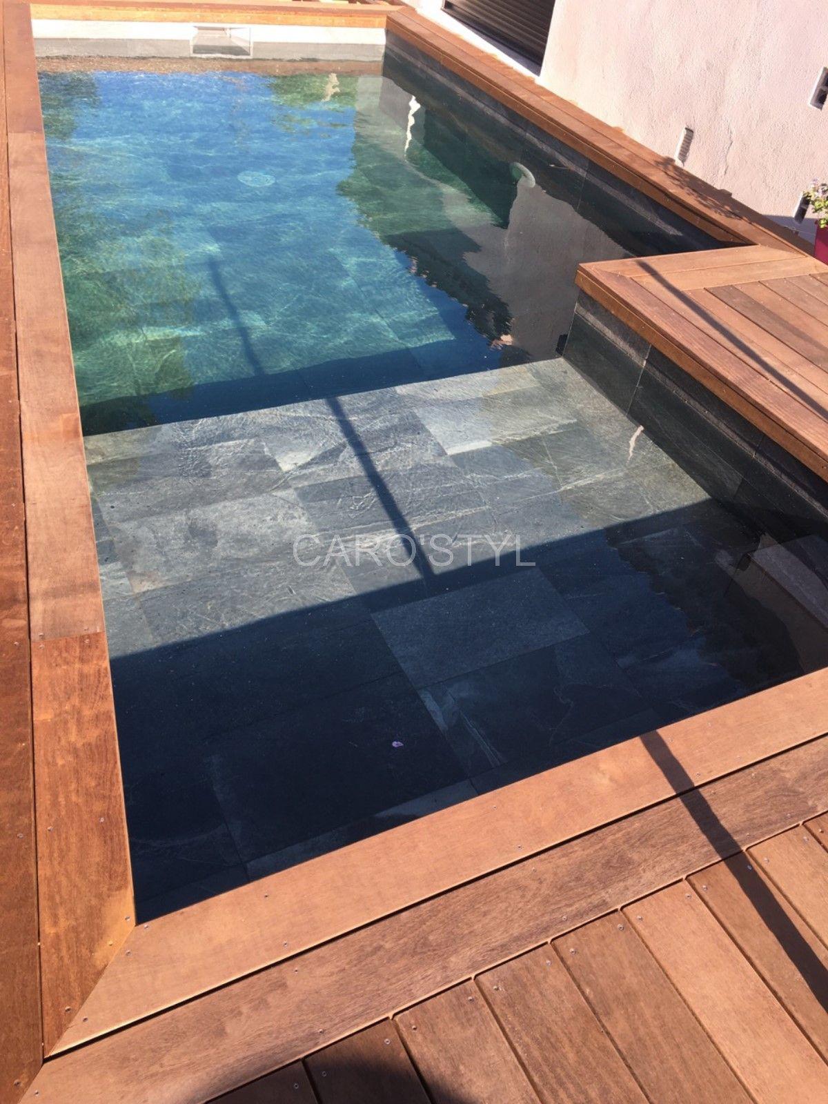 Une piscine tr s tendance en ardoise noire carrelage et salle de bain la seyne var caro styl - Salle de bain en ardoise ...