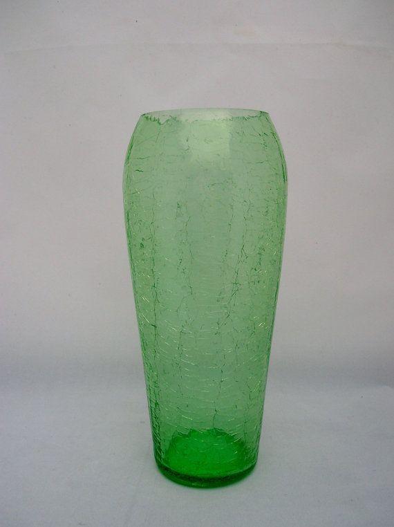 Clearance Green Crackle Glass Vase Spring Green Flower Pot Crackle