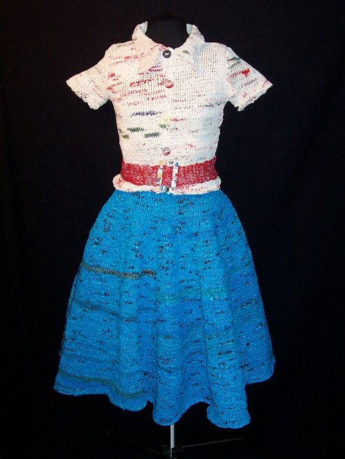 Outfit made out of Plarn (plastic bags recycled and made into yarn ...