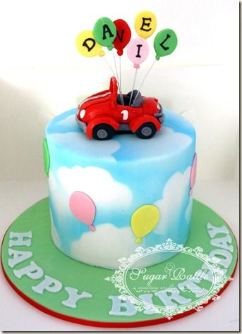 boys birthday car cakes Sugar Rattles Journey Car and balloons
