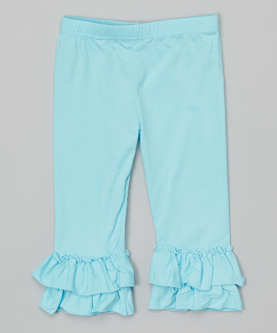 Love this Aqua Double-Ruffle Capri Pants - Infant, Toddler & Girls by Creative Cuties on #zulily! #zulilyfinds