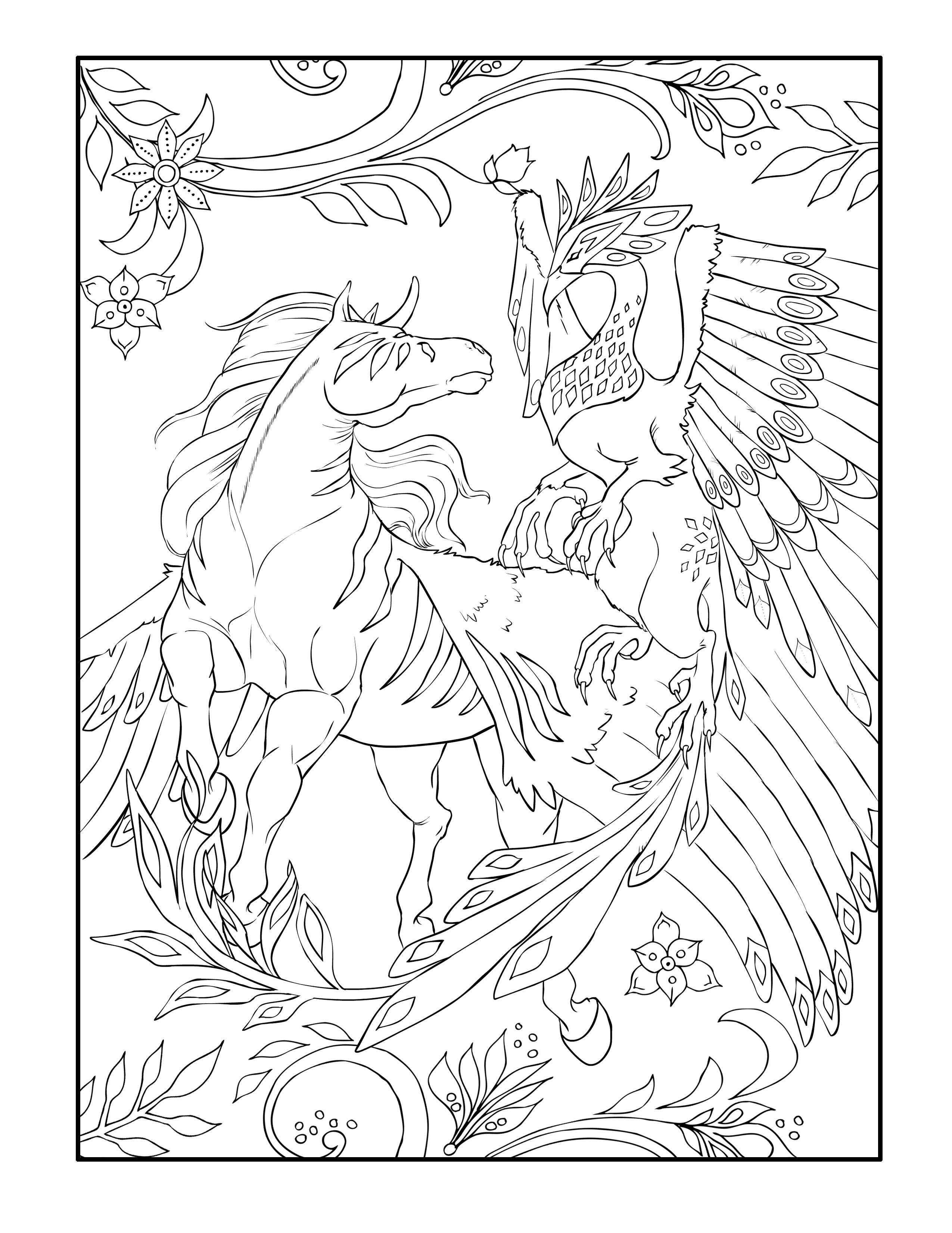 This Adult Coloring Page Is From Magical Kingdom Book If Filled With Unicorns Pegasus Griffons Other Winger Animals As Well Real