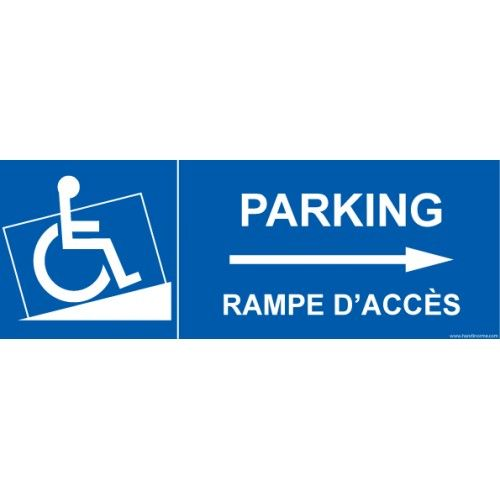 signalisation handicap parking rampe acc s fl che droite parking pmr accessibles. Black Bedroom Furniture Sets. Home Design Ideas
