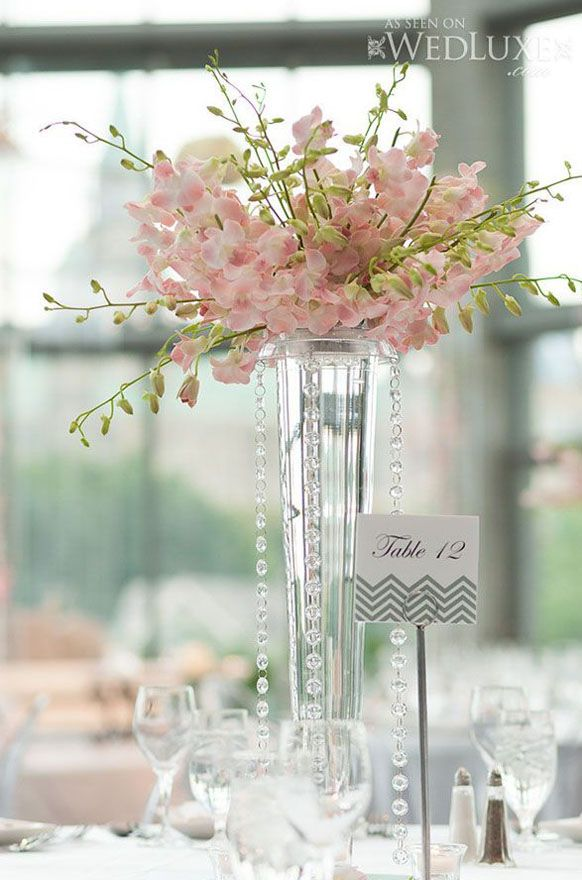 Tall Light Pink Orchids Centerpiece Idea