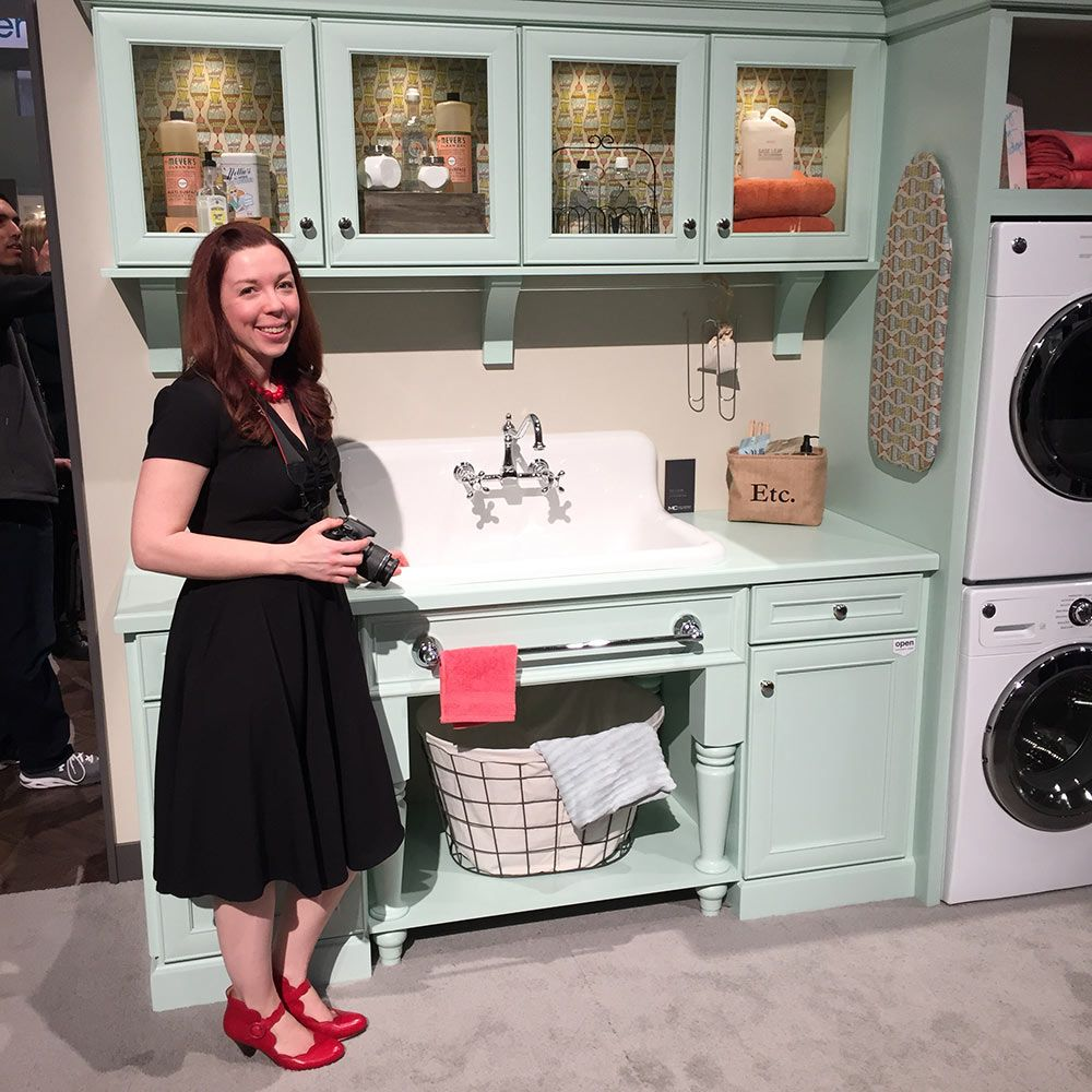 Checking out the Nelsons sink on display at KBIS Vintage style