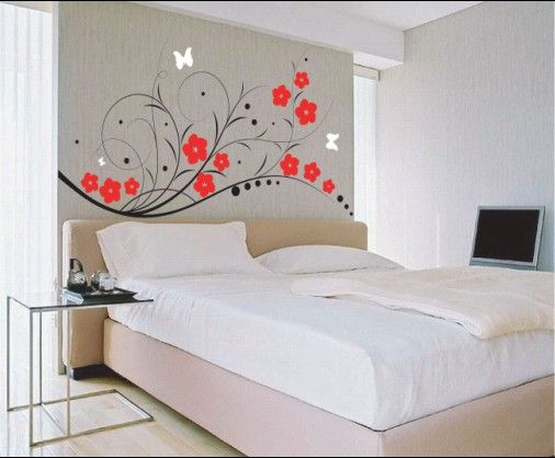 Ideas for Cool Wall Designs for Bedrooms  White Bedroom Design With Flower  Wall Sticker   Jaybean. murals for bedroom walls ideas   Beautiful Bedroom Stickers for