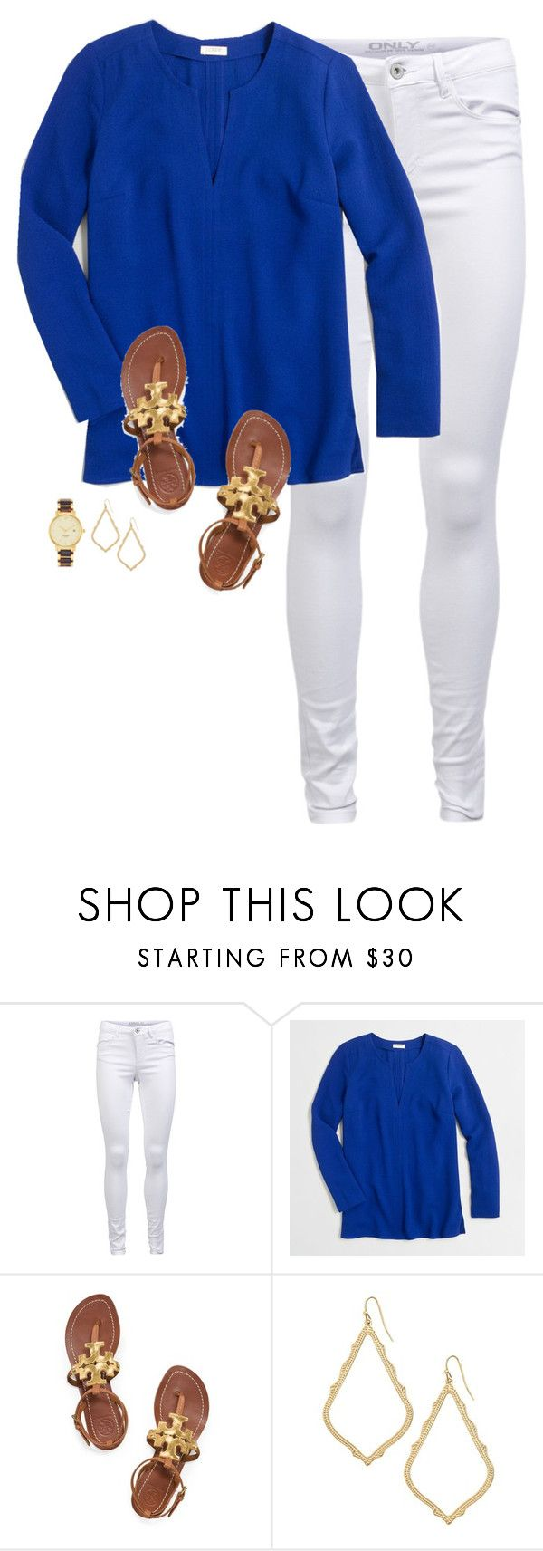 """feeling the winter blues"" by apocketfulofprep ❤ liked on Polyvore featuring ONLY, J.Crew, Tory Burch, Kendra Scott, Kate Spade, women's clothing, women's fashion, women, female and woman"