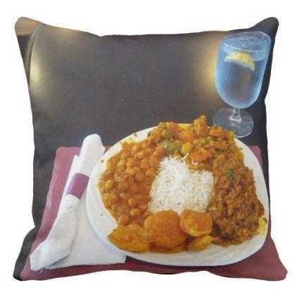 Dinner Or Lunch Buffet Vegan Indian Food Throw Pillow Vegan