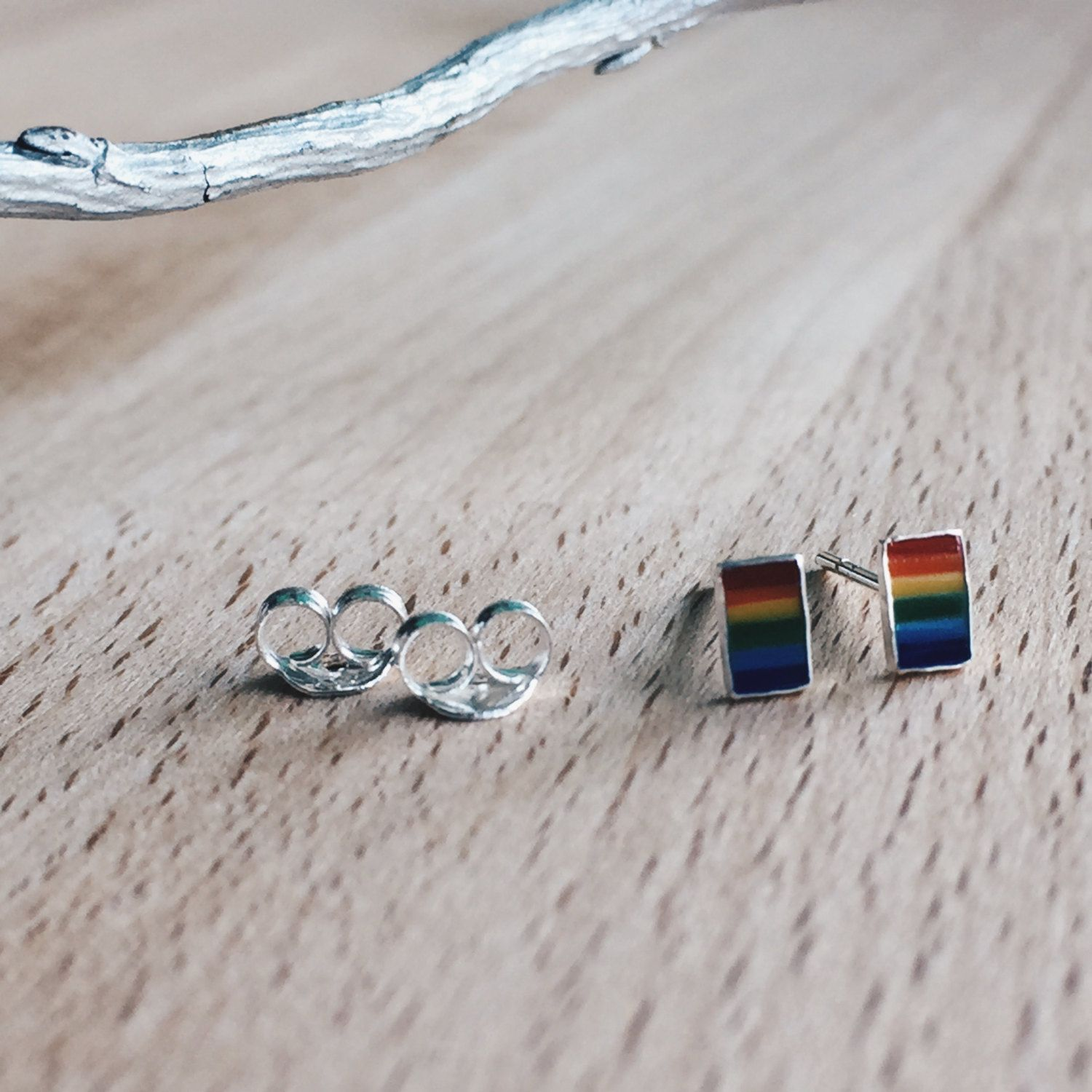 Rainbow bar ear studs, Sterling silver rainbow studs, Rainbow cartilage stud, Tiny rainbow bar earrings, Cute rainbow earrings by SilverCartel on Etsy