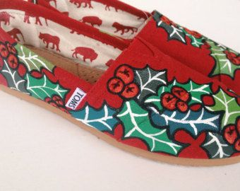 red christmas hand painted tom shoes