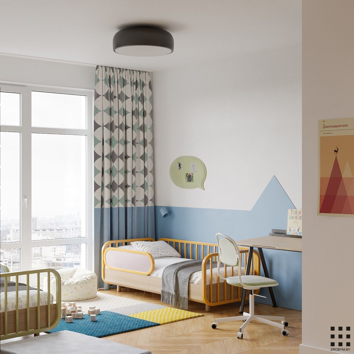 A Bright Colorful Home For A Couple And Two Children Includes Floor Plan With Images Kid Room Decor Apartment Bedroom Design Small Room Decor
