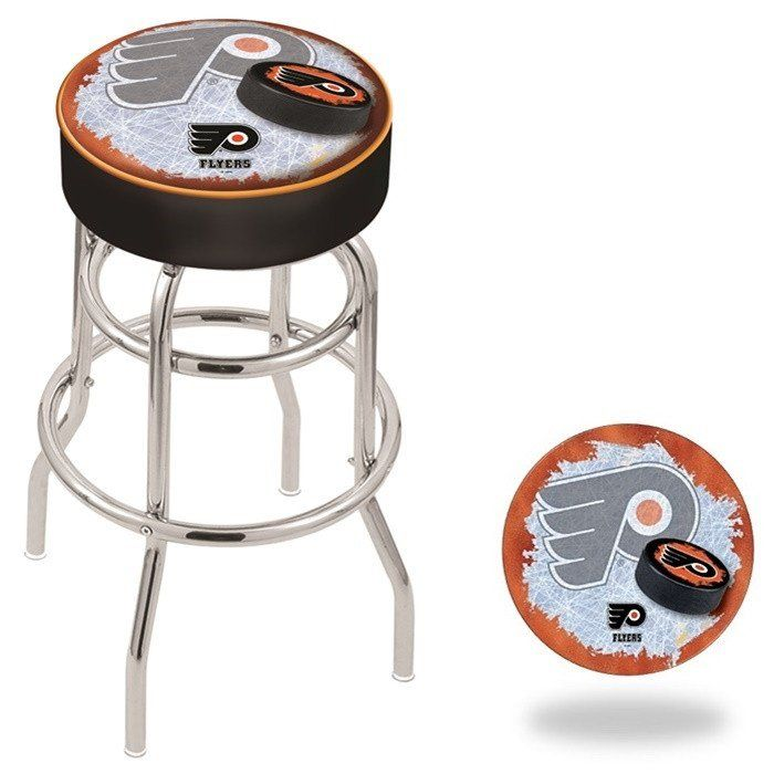 The Chrome Nhl Retro Look Philadelphia Flyers Bar Stool Has A 4 Inch Cushion With