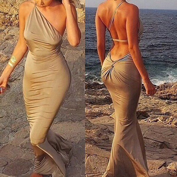 Glamorous One Shoulder Solid Color Backless Mermaid Women S Maxi