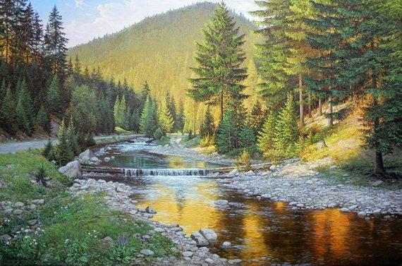 Mountain River Original Large Painting Artist Ivan Petriv Realism Oil Painting Large Painting Landscape River Wall Decor Handmade Art Landscape Paintings Landscape Original Large Painting