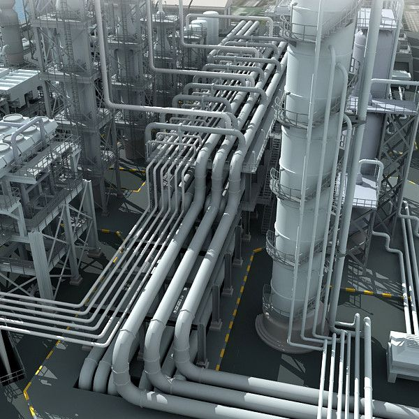 3D Mega Refinery Industrial - 3D Model | Thesis in 2019