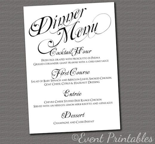 Printable Menu Card, DIY Wedding Reception Dinner Menu, Black