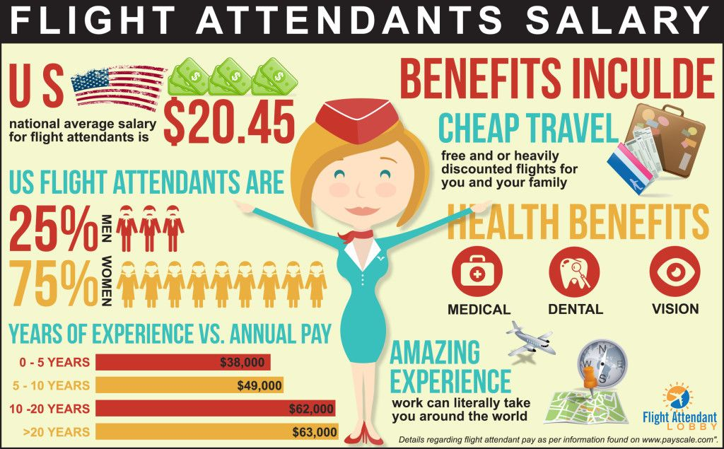 Awesome flight attendant salary infographic to help you