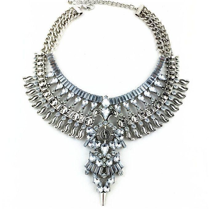 Statement Necklaces & Pendants Vintage Crystal Maxi Choker Silver Boho Big Fashion Women Jewelery