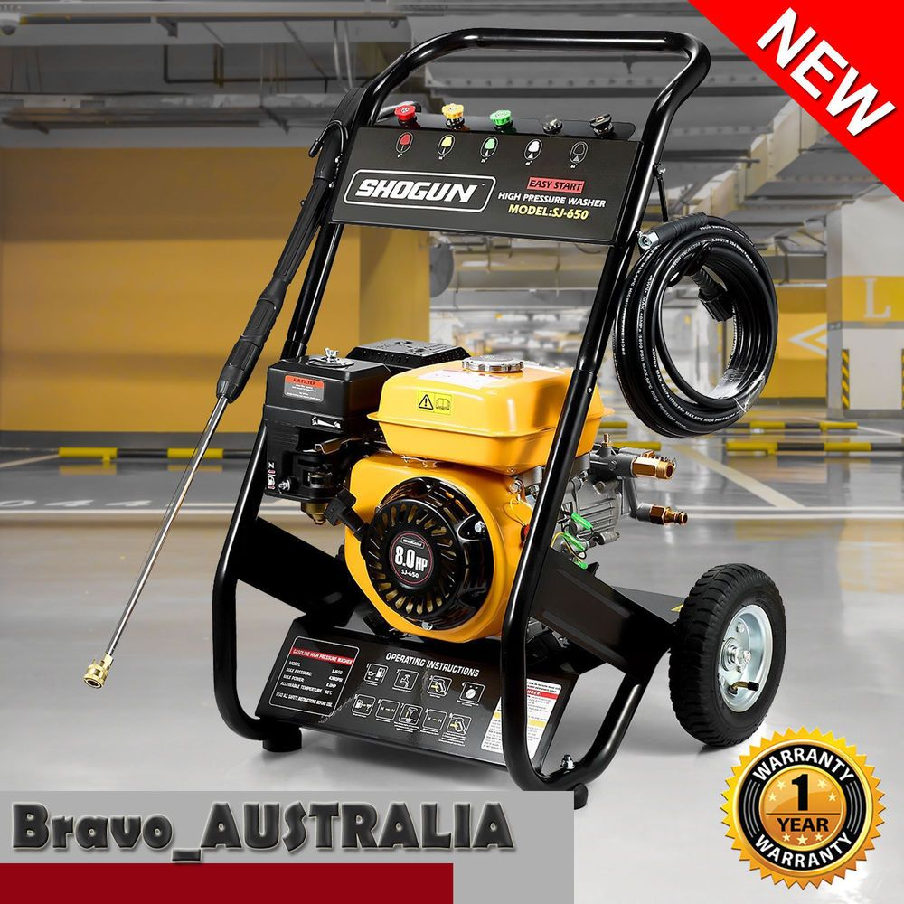 8HP Petrol High Pressure Washer Cleaner 3900PSI Water Blaster Gurney 8m Hose & 8HP Petrol High Pressure Washer Cleaner 3900PSI Water Blaster Gurney ...