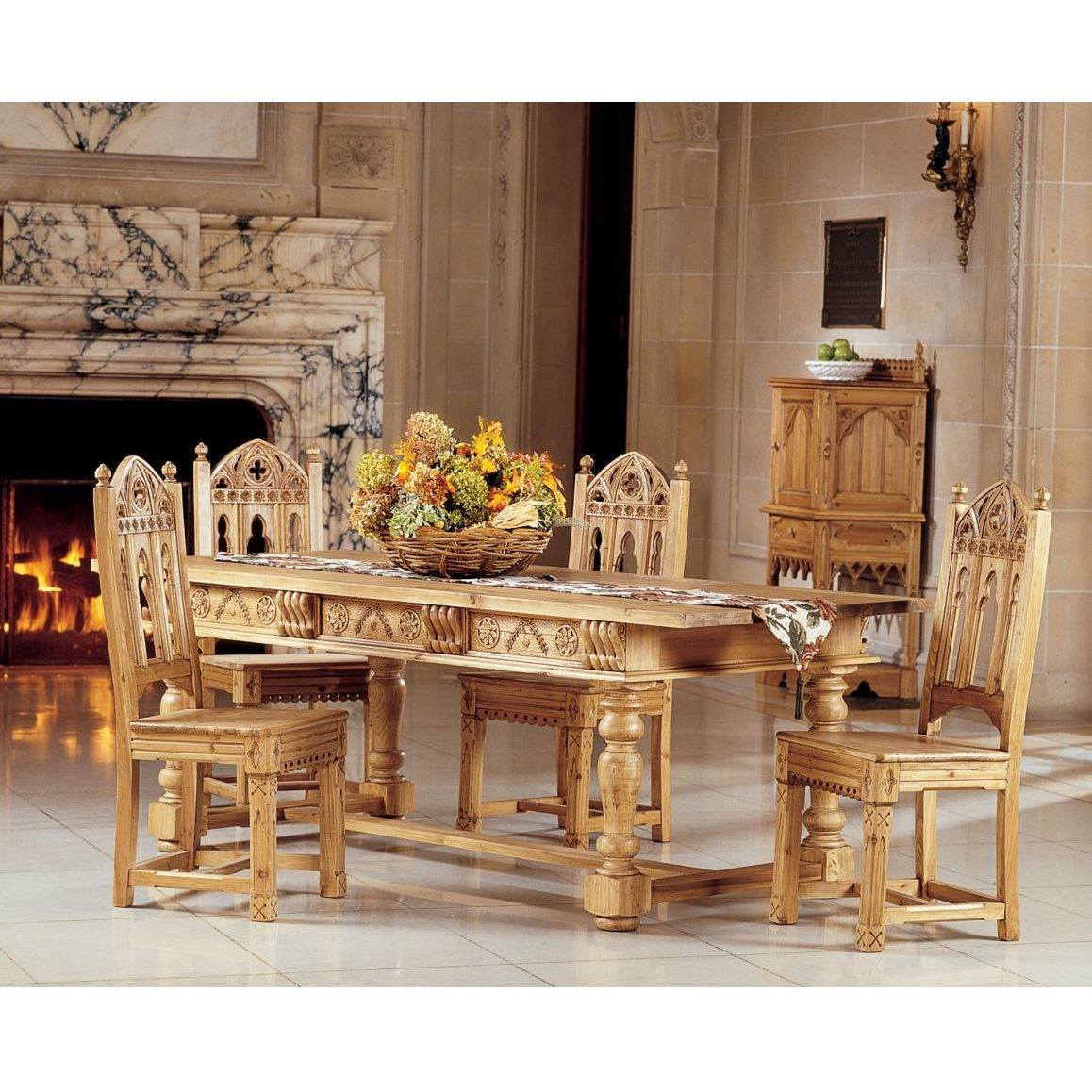 Love This Table Solid Pine And Gothic Carvings  For The Home Custom Pine Dining Room Table And Chairs Inspiration Design