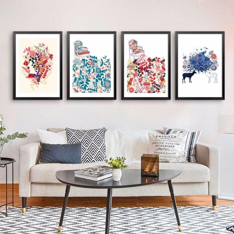 Graceful Girl Ink Canvas Oil Painting Prints Picture Home Office Artistic Decor