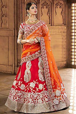 af7d58d7d Craftsvilla Scarlet Red Color Silk Embroidered Lehenga Choli