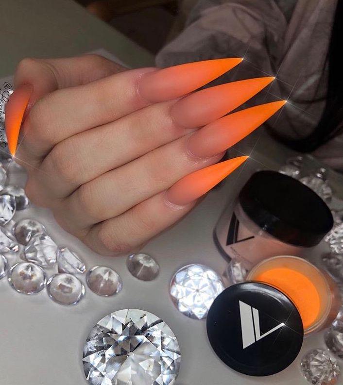 matte orange stiletto nails nifty nails pinterest