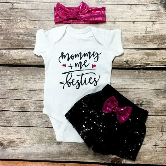 Mommy Bestie baby glitter bodysuit or toddler by ChamomileAndRoses
