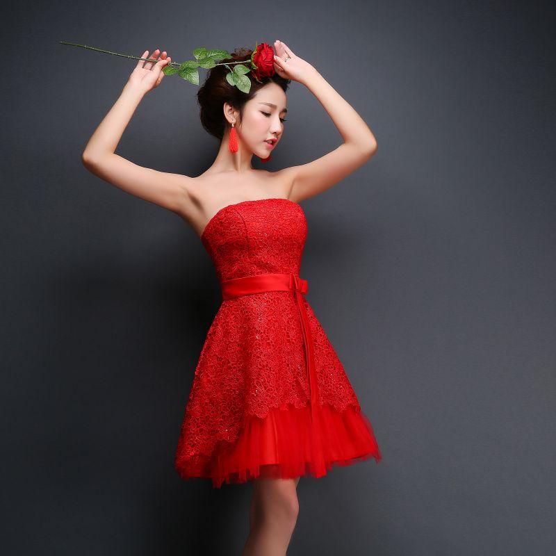 الوردي الرباط فستان الحفلة الراقصة 2015 العروس تزوج الحلو حمالة أحمر قصير البسيطة زائد الحجم مثير مساء اللباس الرسمي Prom Dresses 2015 Dresses Lace Prom Dress
