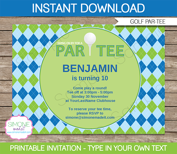 Golf Party Invitations Template blue green – Golf Party Invites