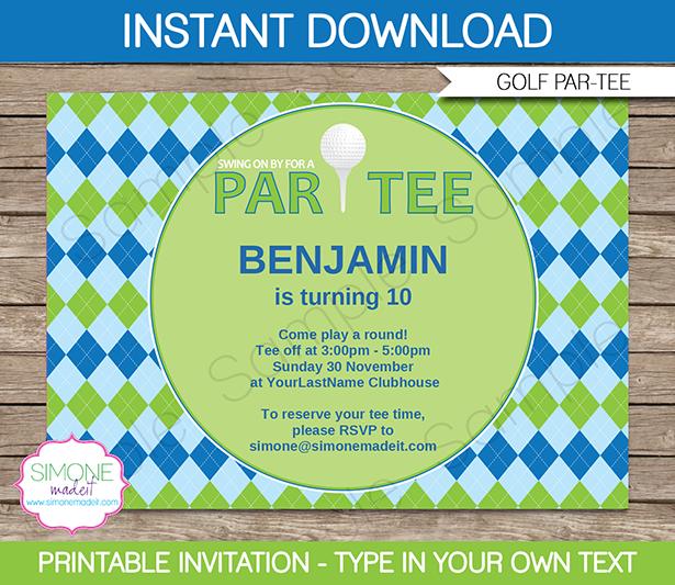 golf party invitations template blue green tucker pinterest