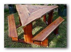 Triangle Setting Kind Of A Cool Alternative Picnic Table DIY - Triangle picnic table