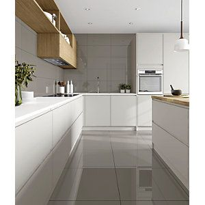 Wickes Tibet Light Grey Matt Glazed Porcelain 600 X 300mm Wickes Co Uk Brown Tile Floor Bathroom White Gloss Kitchen Grey Gloss Kitchen