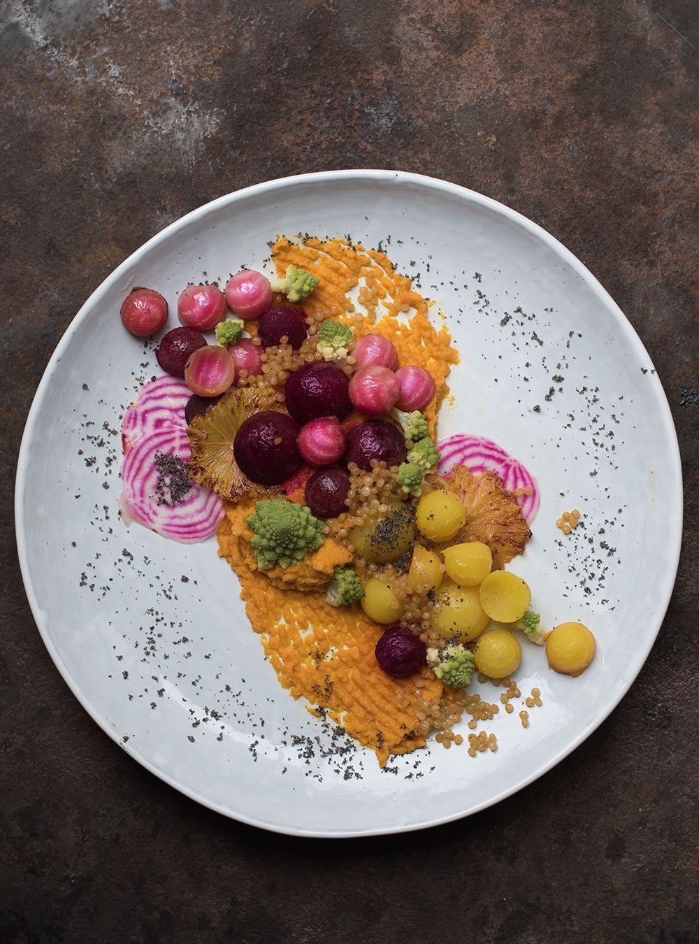 Kunterbuntes Dampfgemüse mit Fregola Sarda, gebratener Orange, Kardamomsirup und Gomasio - Kochen auf der IFA bei AEG - s-Küche